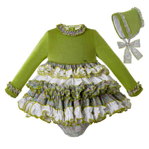 Green Flower Baby Girls Ruffled Dress With Bonnet Christmas Party Pageant Prom