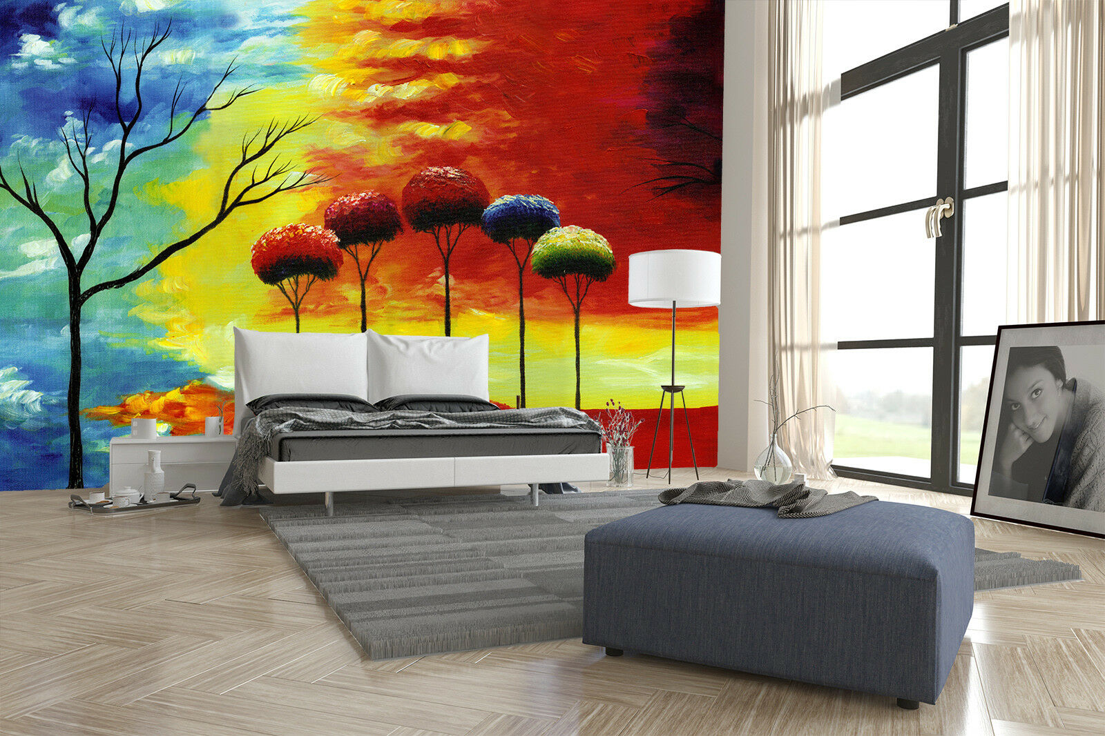 3D Trees Paint 4165 Wallpaper Murals Wall Print Wallpaper Mural AJ WALL UK Lemon