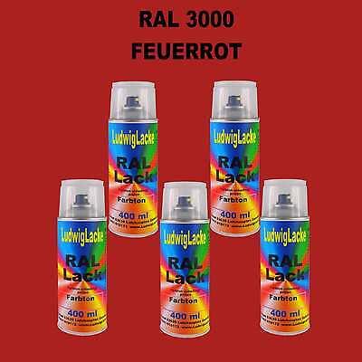 5 Spraydosen Autolack Qualität je 400ml RAL 3000 Feuerrot Lackspray Dose 3,30€