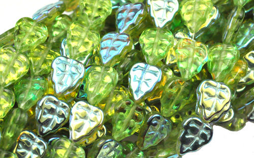 10 OLIVINE AB CZECH GLASS LEAF BEADS 10MM
