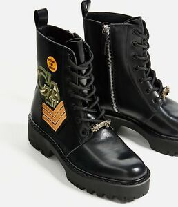 Details about New Zara Military Ankle Women Boots Leather Patches Pin Sz 5 Party Lace