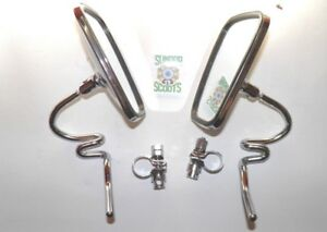 2 CHROMED ROUND MIRRORS  WITH STEMS  FOR LAMBRETTA AND VESPA SCOOTERS.