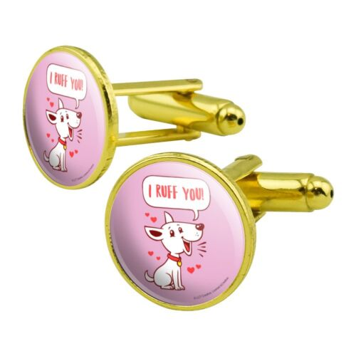 I Ruff Love You Dog Funny Humor Round Cufflink Set Gold Color