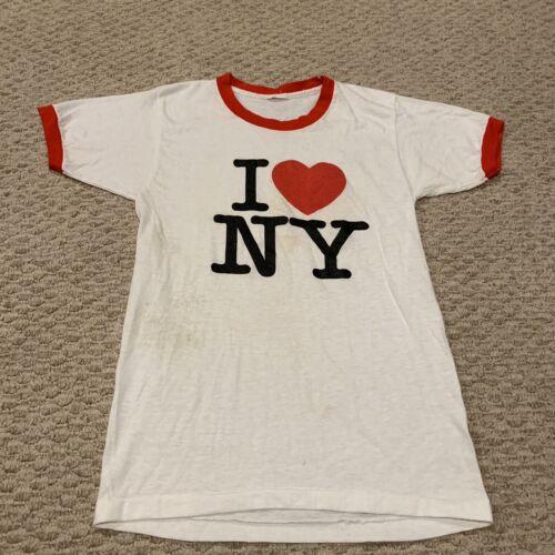 VTG I Love NY Ringer T Shirt Soft New York City He