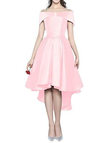 Stock Satin Hilo Boat Neck Prom Dress Formal Evening Party Bridesmaid Gowm 6-20