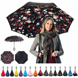 C--Handle Parasols Folding Rain Windproof Umbrella Double Layer Inverted Reverse