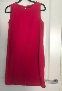 M-amp-S-Pink-Raspberry-Linen-Mix-Shift-Sleeveless-Dress-Size-10-Excellent