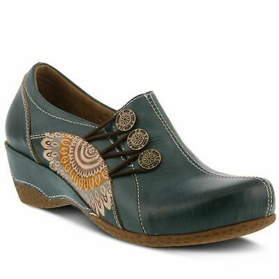Spring Step L'artiste Agacia Leder Holzschuhe Aquamarin And Digestion Helping Women's Shoes
