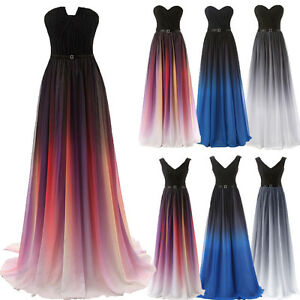Details about Gradient Chiffon Long Bridesmaid Dress Formal Evening Party  Dress Gown Plus Size