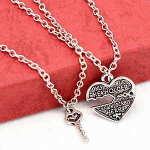 1pair love heart key pendant necklace best friends lovers couple image is loading 1pair love heart key pendant necklace best friends aloadofball Image collections