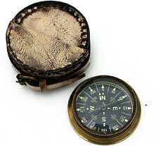 Brass Ship Pocket Compass with Leather Case