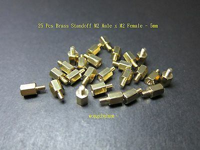 M2 Male x M2 Female Brass Standoff Spacer 5mm - 25 pcs