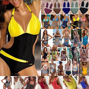 ab62151360 Image is loading Womens-Swimming-Costume-Padded-Swimsuit-Monokini-Swimwear- Push-