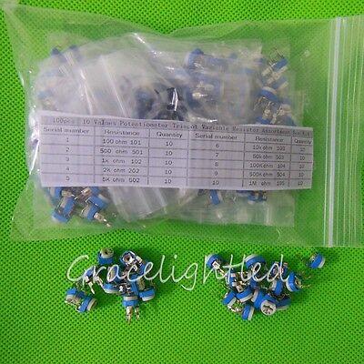 100pcs 10 Values Potentiometer Trimpot Variable Resistor Assortment Kit 100-1MΩ