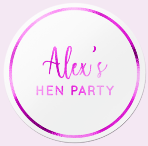 Personalised Pink Foil Hen Do Wedding Party Bag Stickers Birthday WHITE Labels