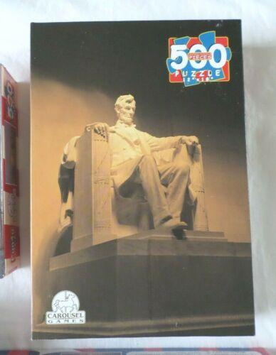 Vtg NEW Puzzles 500 pc U.S Landmark Statue Liberty Lincoln Memorial Capitol Blg