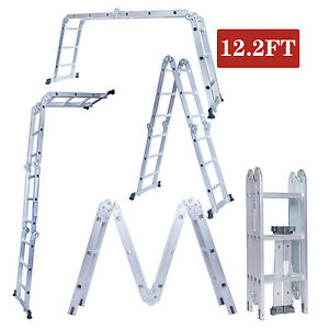 12.2FT Multi Purpose Aluminum Folding Step Ladder Scaffold Extendable Heavy Duty