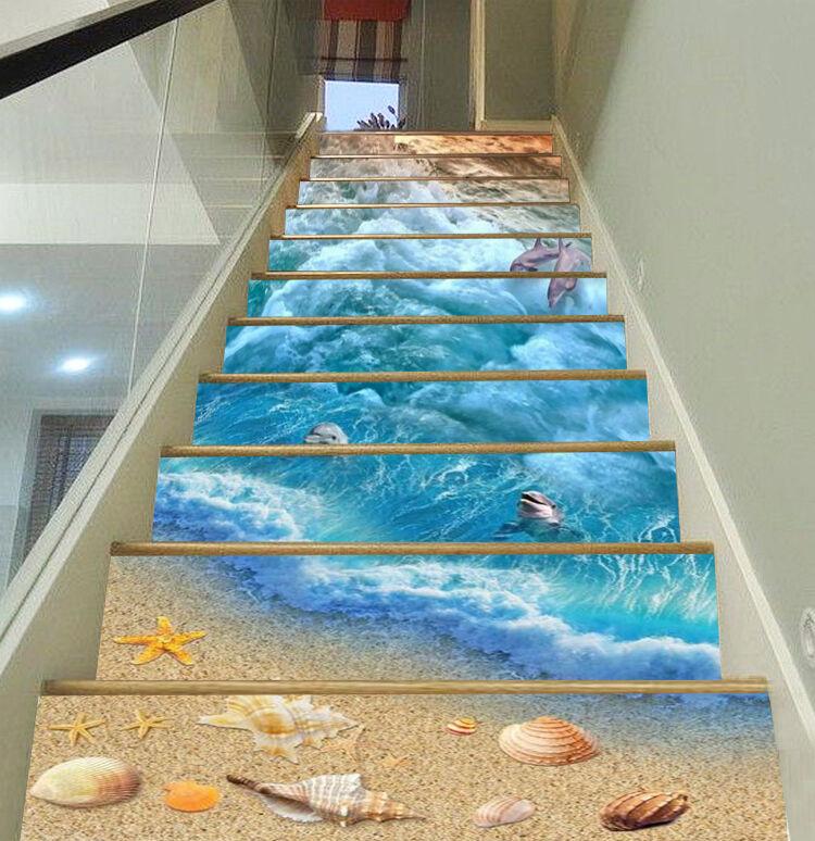 3D Meer Delphin 560 Stair Risers Dekoration Fototapete Vinyl Aufkleber Tapete DE
