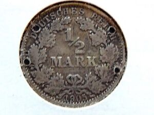 1905-A-German-Half-1-2-Mark-Silver-Coin-With-Four-Bored-Holes