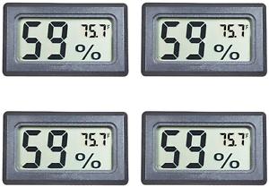 Veanic 4 Pack Mini Digital Electronic Temperature Humidity Meters Gauge Indoor