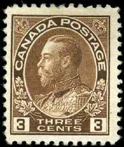 Canada-108-mint-F-VF-OG-DG-1918-King-George-V-3c-brown-Admiral-CV-25-00