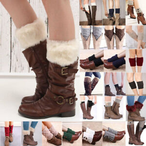 Women-Girls-Leg-Warmers-Boot-Socks-Cuff-Crochet-Knit-Toppers-Knee-Legging-Winter