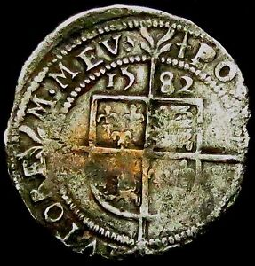 S602-1582-Elizabeth-1st-Hammered-Silver-Threepence-im-Sword-x5-months-only