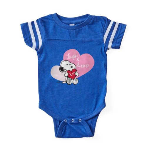 324157163 CafePress Snoopy Hugs And Kisses Baby Football Bodysuit
