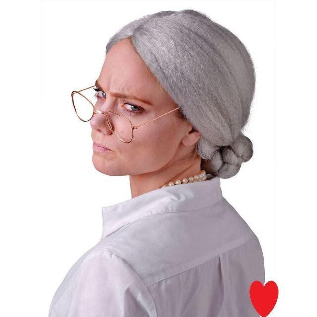 Old ladies grey wig bun granny grandma theatre show