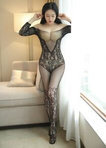 88497e42c7c Image is loading Floral-Stocking-Design-Fishnet-Seamless-Crotchless-Sleeve- Bodystocking-