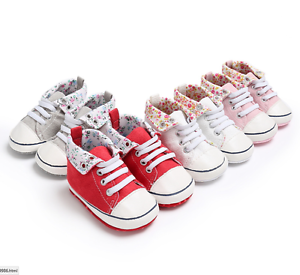 Baby red soft sole shoes converse style trainers 1st shoes pram shoes