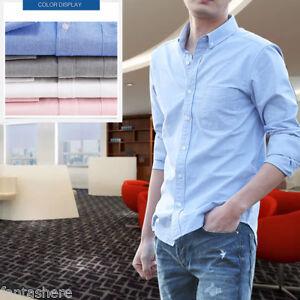 Dress-Shirts-Men-Regular-Fit-Oxford-Long-Sleeve-One-Pocket-Solid-Color-Shirt