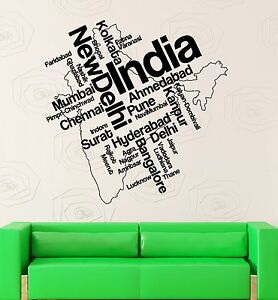 Wall Stickers Vinyl Decal India Map New Delhi Map Country Travel - Wall decals india
