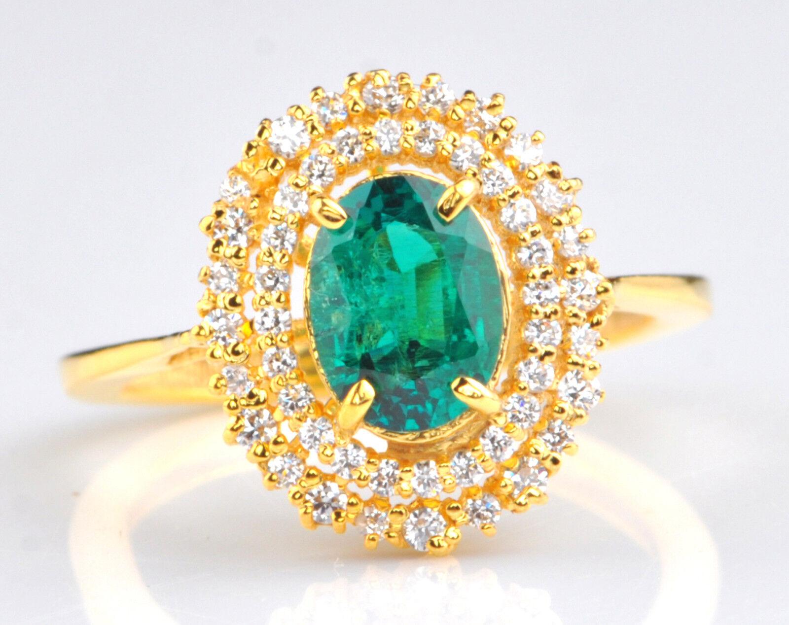 14KT Yellow gold 1.45 Carat Natural Green Emerald EGL Certified Diamond Ring