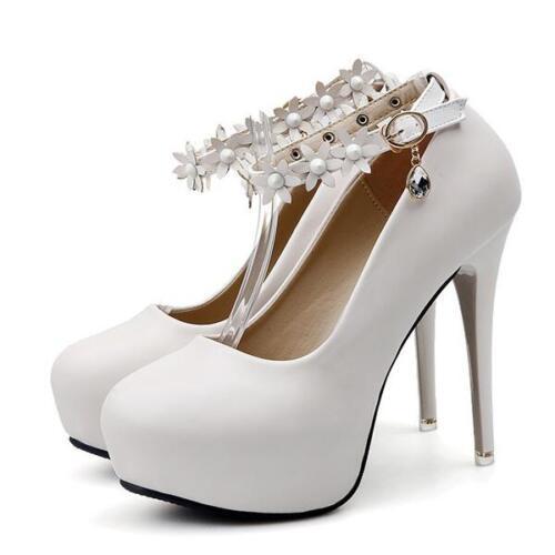 decolte stiletto 12 cm eleganti bianco sposa  plateau pelle sintetica 8204