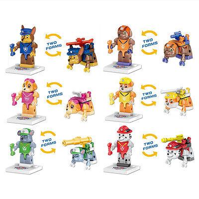 Fun 6pcs PAW PATROL Two Forms Mini Figures Building Blocks Kids Children Toy Set