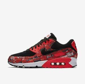 02c8d655ee Nike Air Max 90 Print AQ0926-001 Black Crimson White Men's