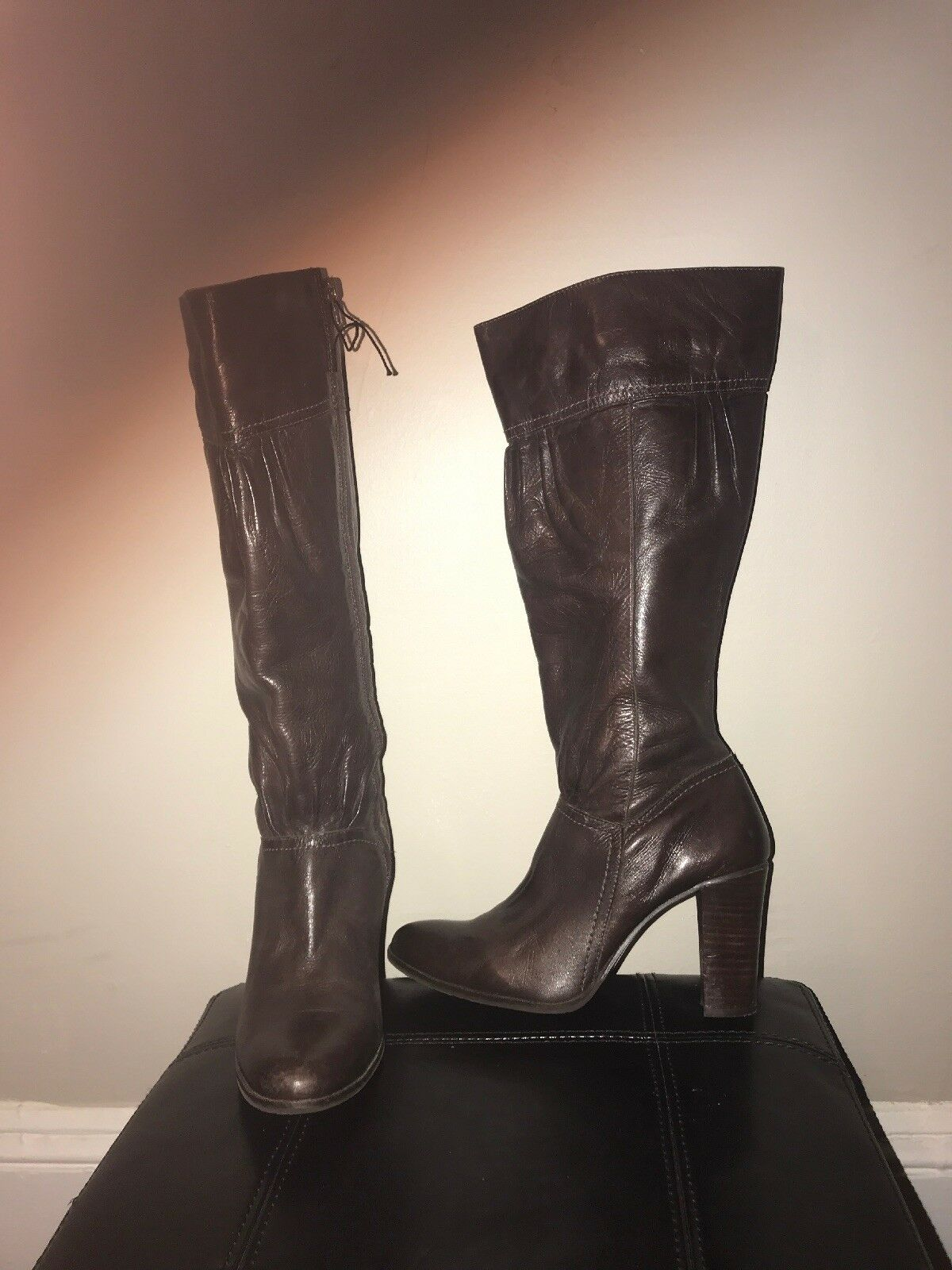 Chocolat blue Genuine Leather Herled Tall Boots Size 37