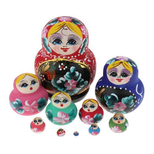 10 Pieces Wooden Babushka Russian Nesting Doll Hand Painted Girls Flowers