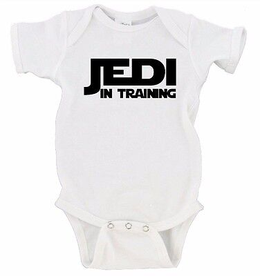 Jedi In Training Cute Funny Star Wars Baby Outfit Humor Black Baby One Piece