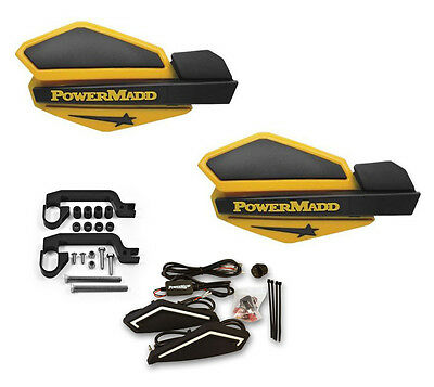 Powermadd Sentinel LED Handguards Ski Doo Yellow Black Mount All Sport ATV/'s