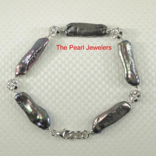Sterling Silver .925 Plumeria; 5-6 Segments of Genuine Biwa Pearl Bracelets TPJ