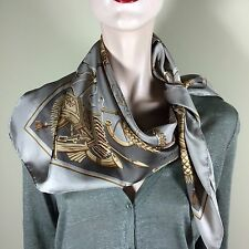 SEVINI Damen Tuch Seide Carrè Schal Foulard Silk Scarf Edler Glamour Style