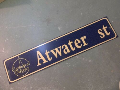 "GOLD on NAVY Ground Vintage ATWATER ST Cathedral District Street Sign 42/"" X 9/"""