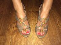 Women's Bronx Dolcis High Sling Back Heels Tan Gladiator Shoe Size 5 EU 38