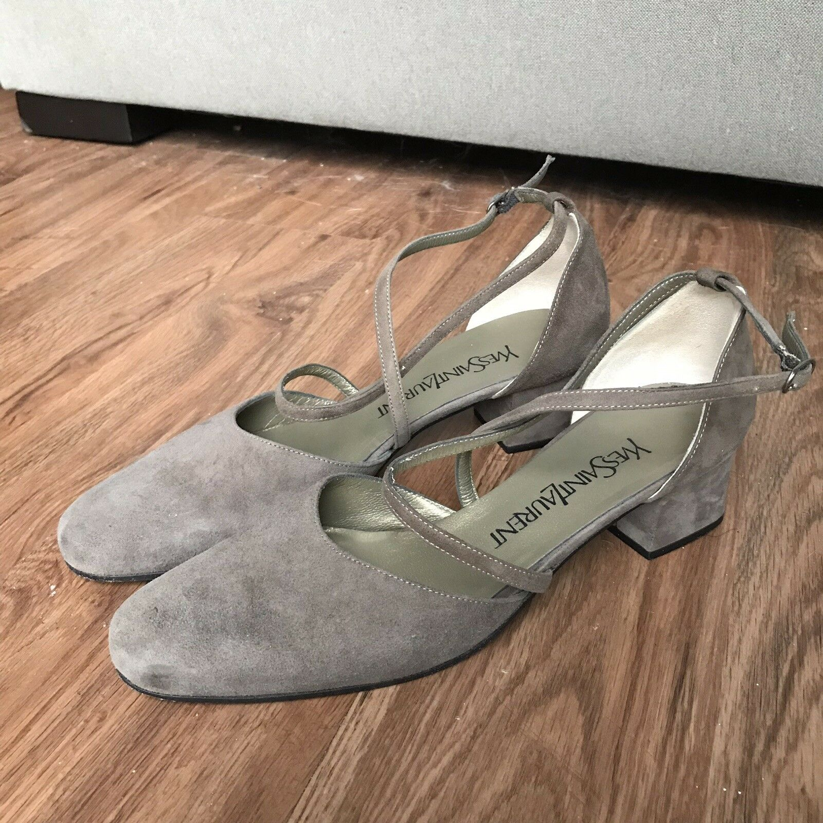 Yves Saint Laurent 7 M Taupe Suede Pumps Crisscross Straps Low Heel Italy YSL