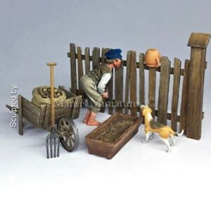 1-35-Resin-Country-Boy-W-Dog-amp-Accessories-Unpainted-Unassembled-BL632
