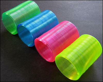 Bulk Lot x 30 Mini Fluoro Rainbow Slinky Spring Toys Kids Party Favors Novelty