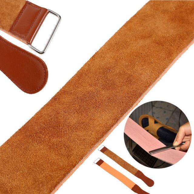 Cow Leather Manual Strop Straight Barber Shaving Razor Blade Sharpen Strap Brown