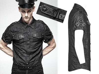 Chemise Jeans Délavé Steampunk Militaire Gothique Punk Harnais Punkrave Homme